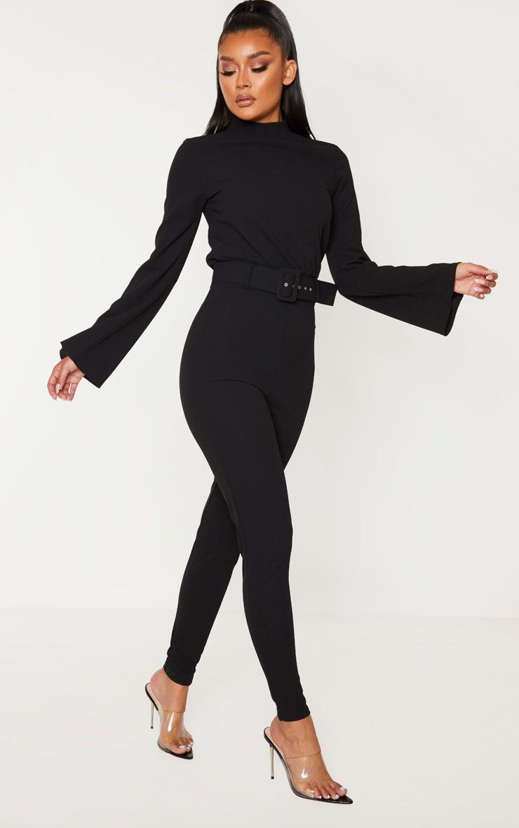 Black Belt Detail High Neck Long Sleeve Jumpsuit 1