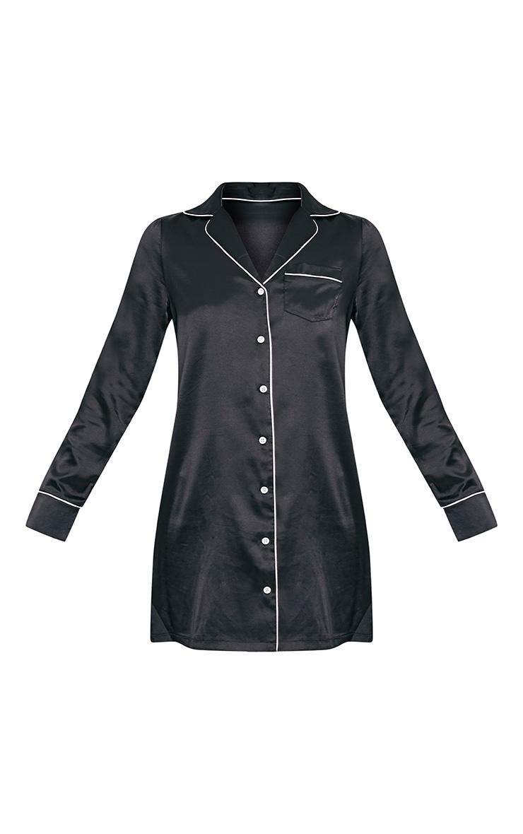 Maddison Black Satin Shirt Dress 3