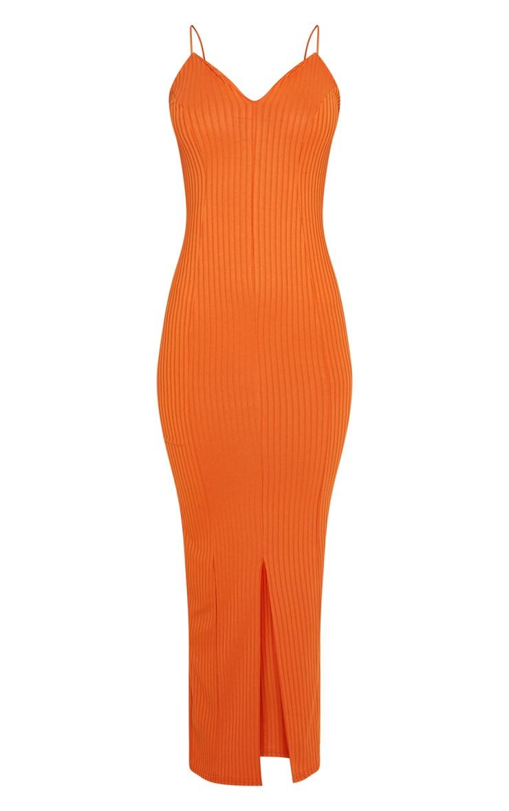 Robe mi-longue côtelée orange brûlé à décolleté plongeant 3