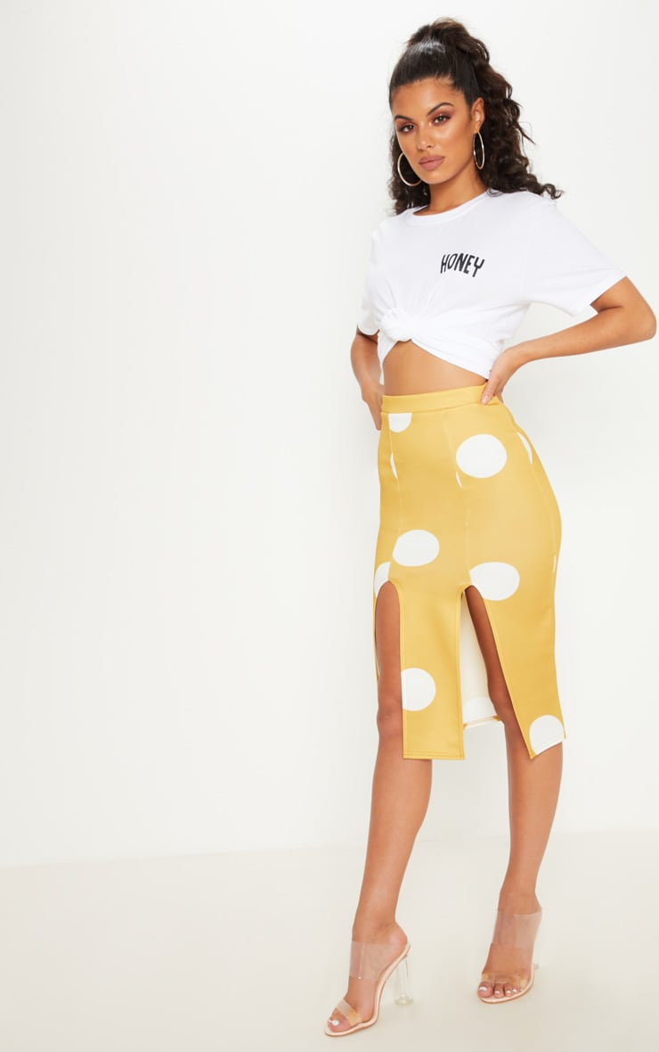 Mustard Double Split Polka Dot Midi Skirt 1