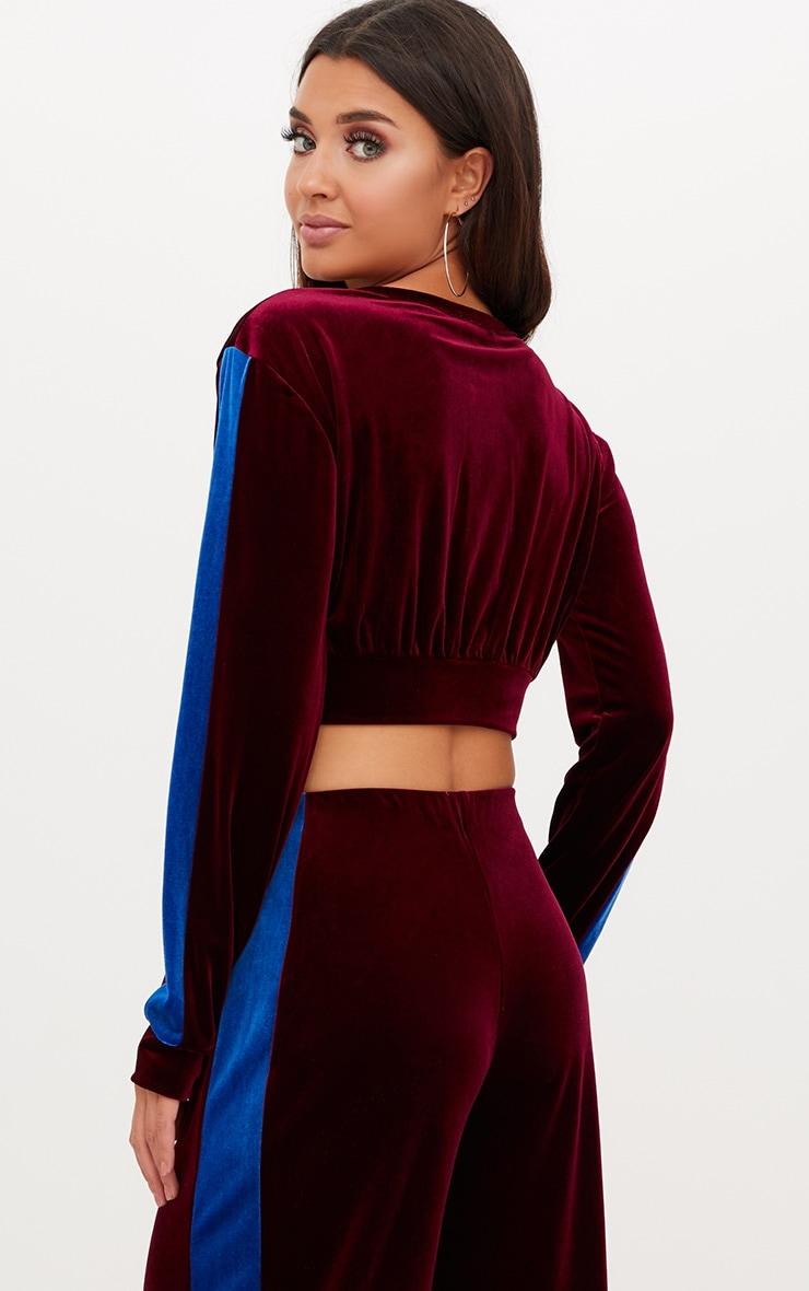 Maroon Velvet Contrast Stripe Cropped Jacket  2