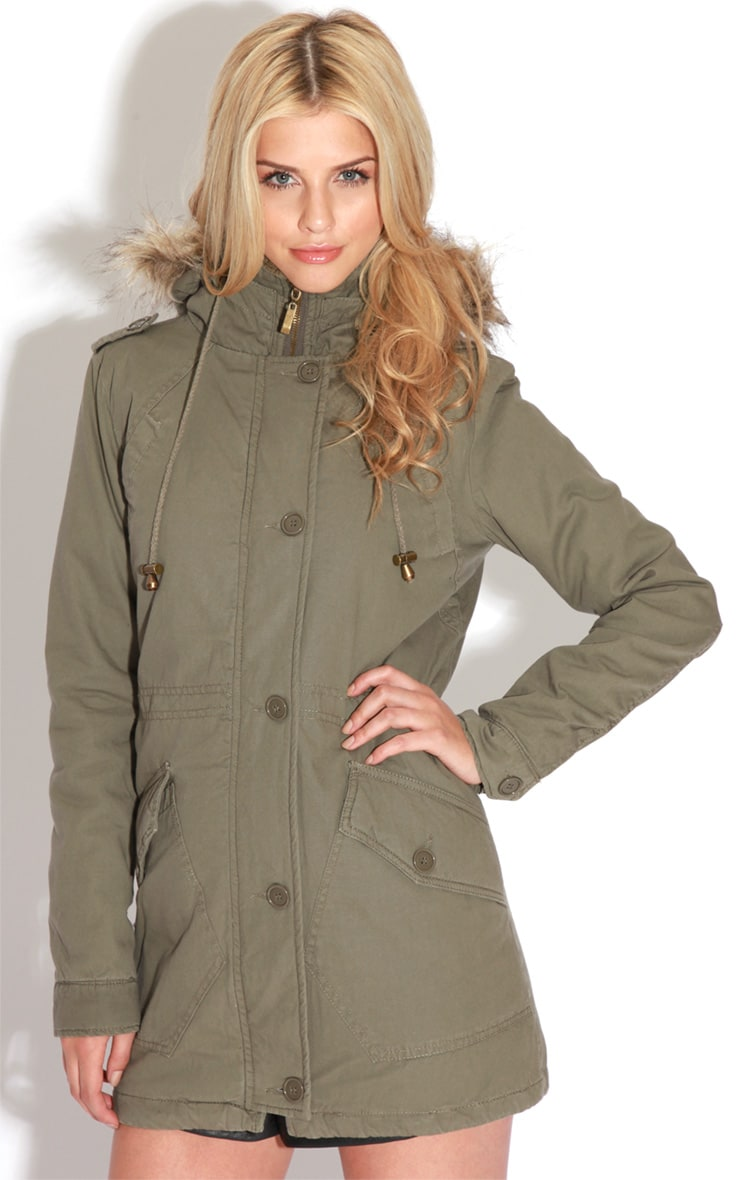 Jameel Khaki Coat With Grey Fur Lined Hood 4