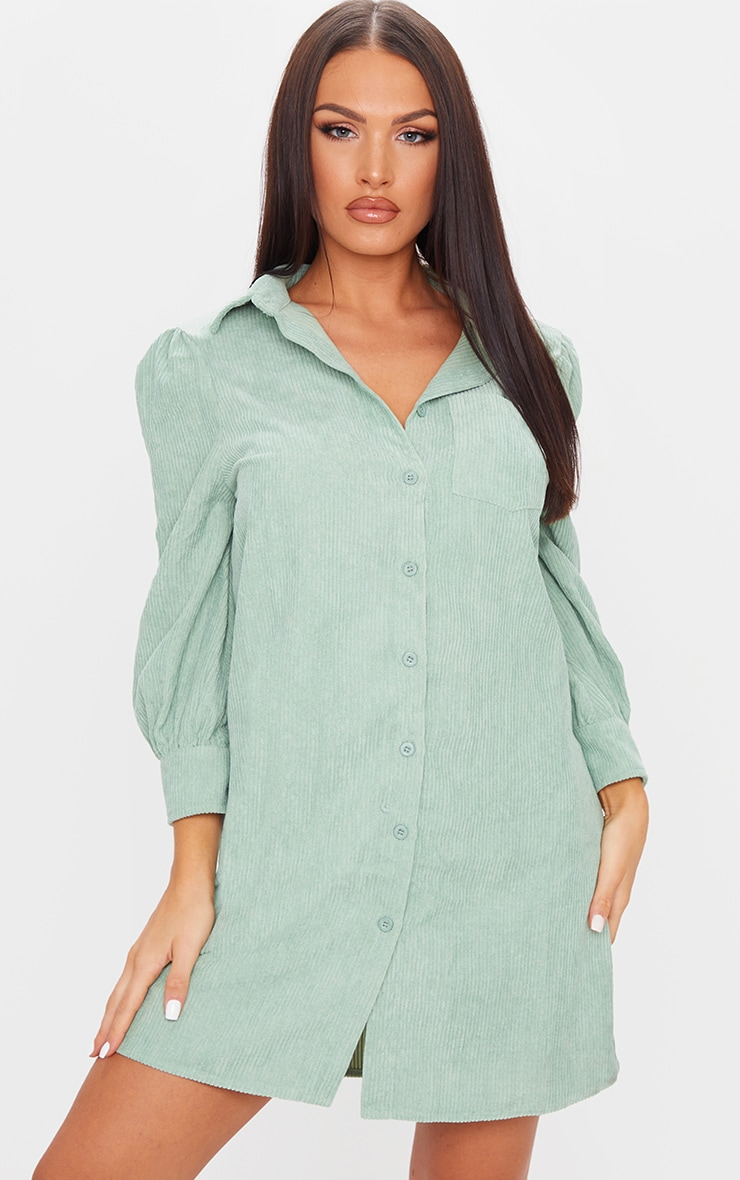 Green Cord Shirt Dress 1