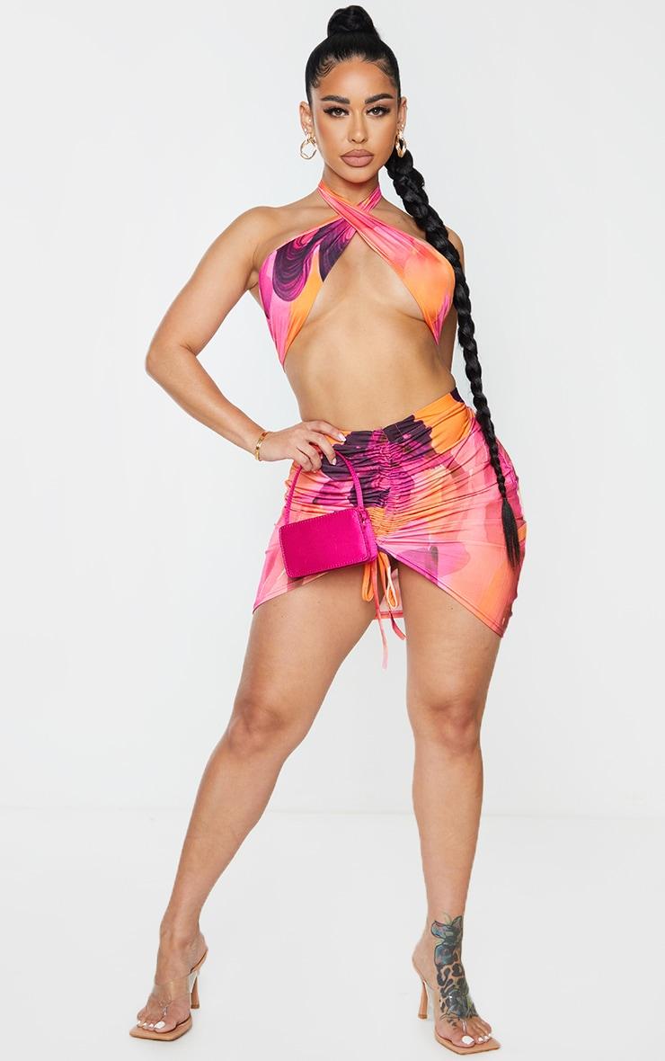 Shape Pink Swirl Print Slinky Wrap Halterneck Crop Top 3