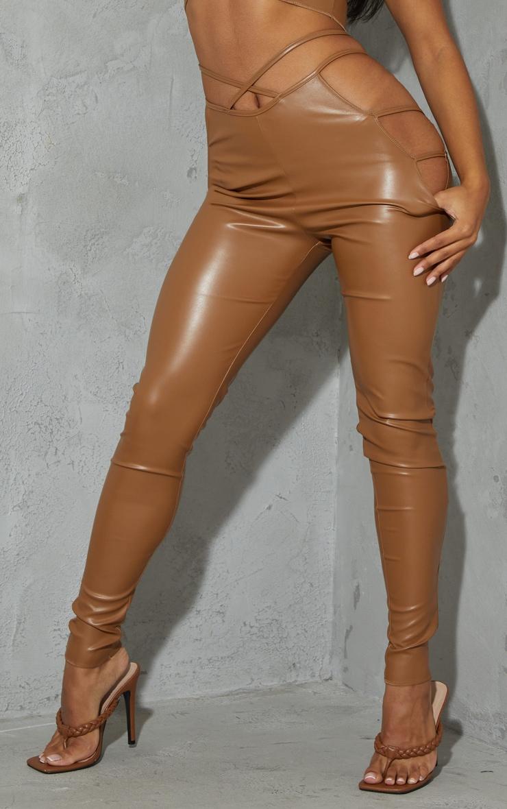 Camel Faux Leather Cut Out Waist Leggings 2