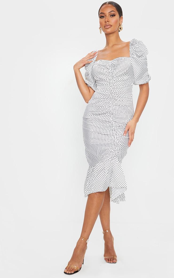 White Polka Dot Ruched Front Frill Hem Dress 1