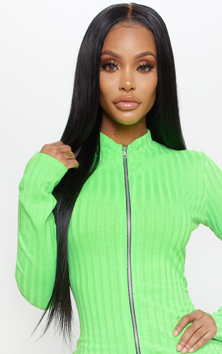 Shape Neon Lime Ribbed Zip Front Bodycon Dress 5