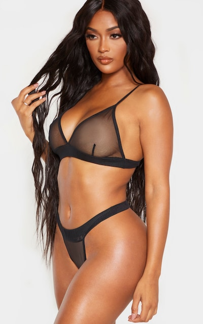 Shape Black Mesh Thong