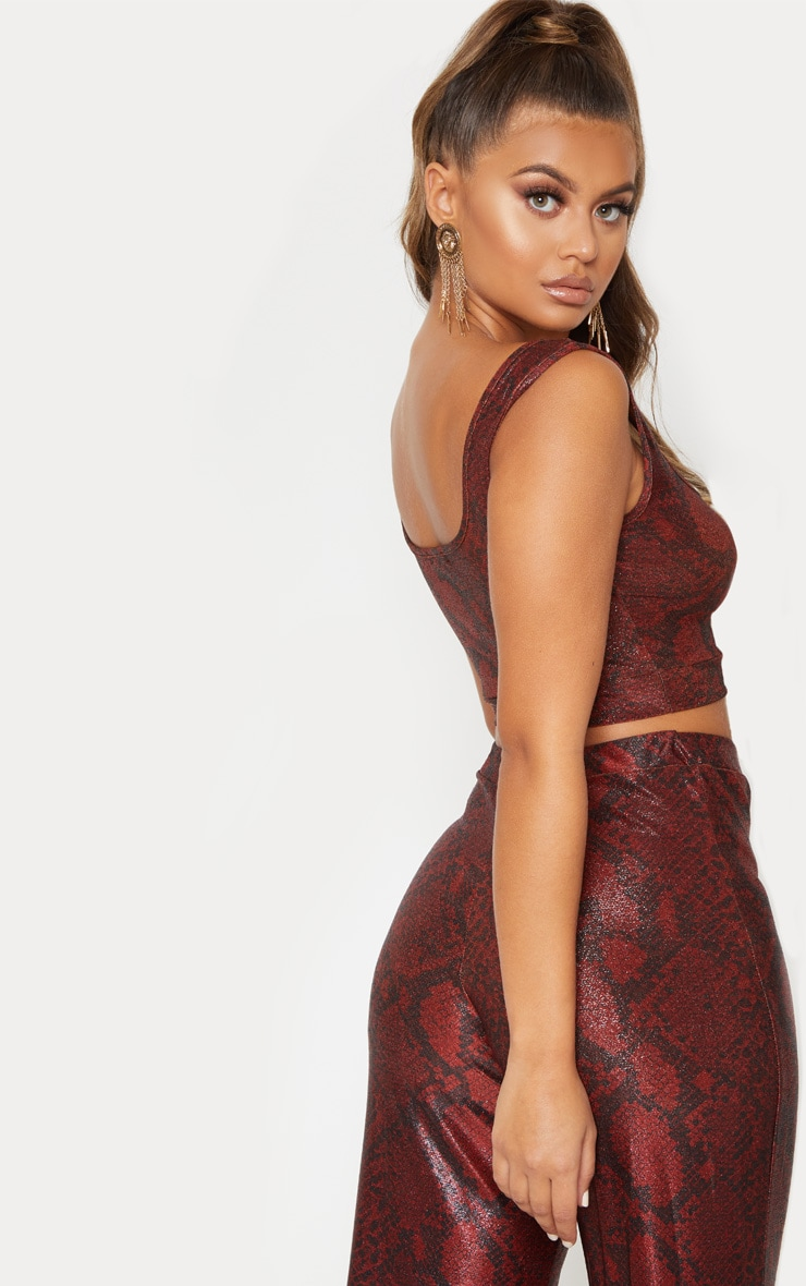 Maroon Metallic Snake Square Neck Crop Top 3