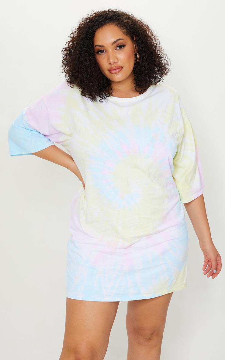 Plus Multi Tie Dye T Shirt Boyfriend Dress 3