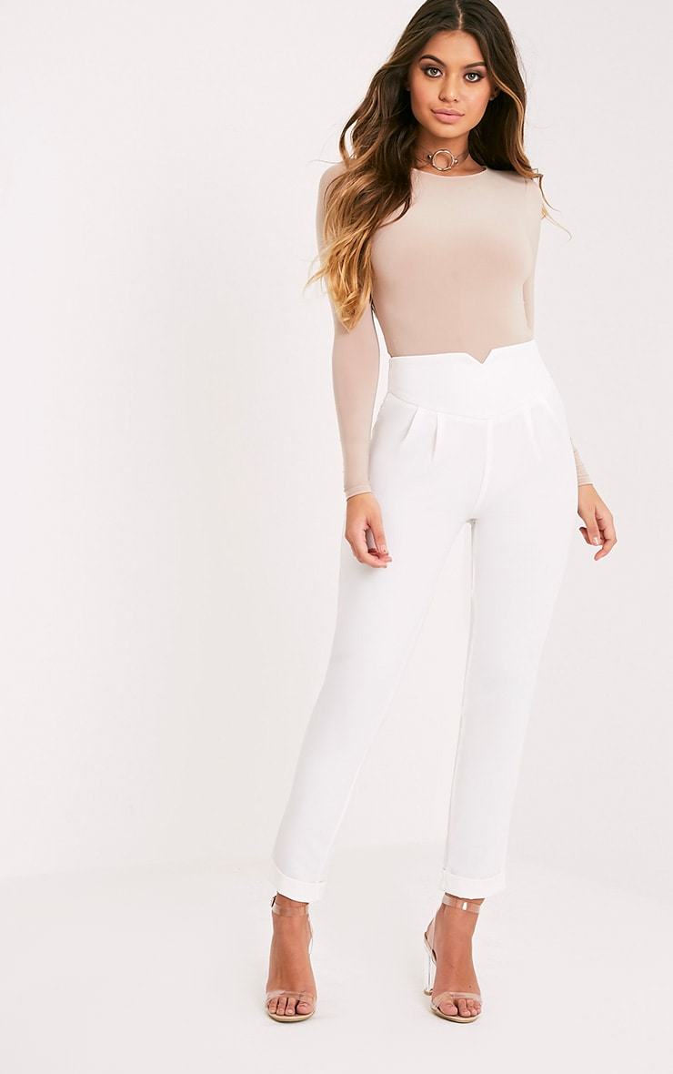 White High Waisted Tapered Trousers