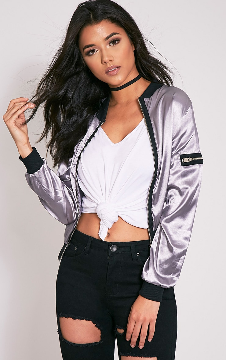 Zaynab Grey Lightweight Satin Bomber Jacket 2