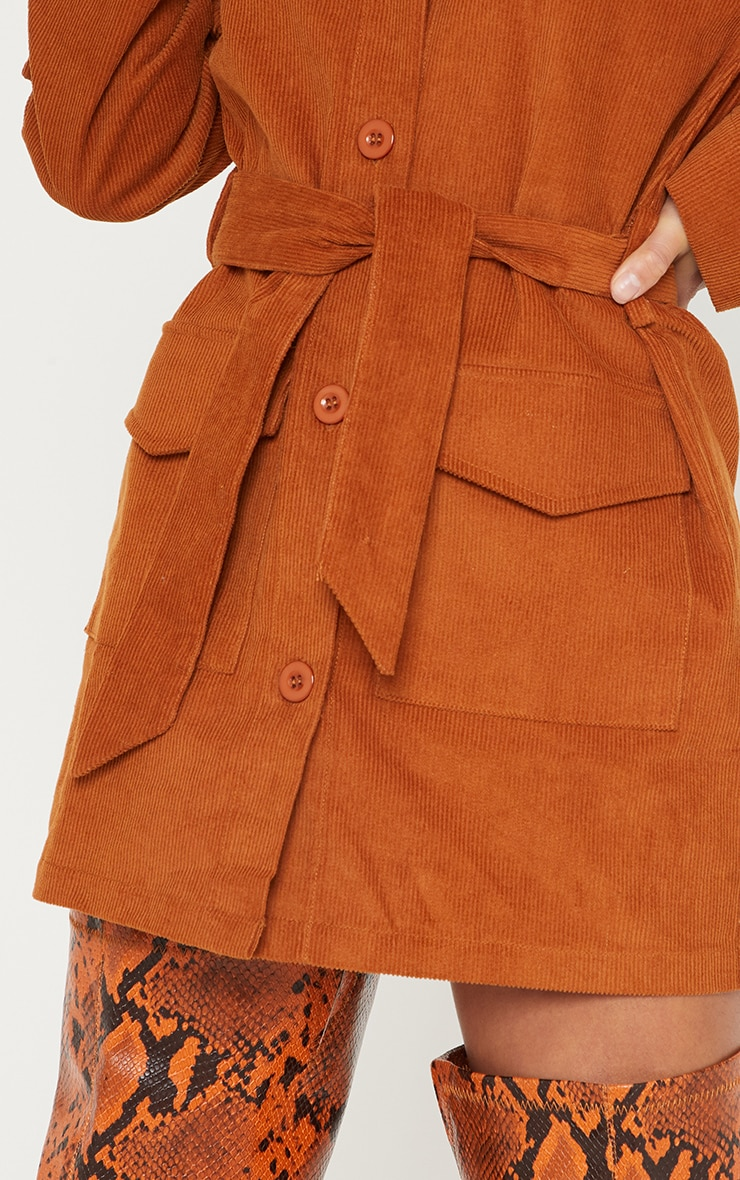 Petite Rust Cord Button Front Belted Shirt Dress 5