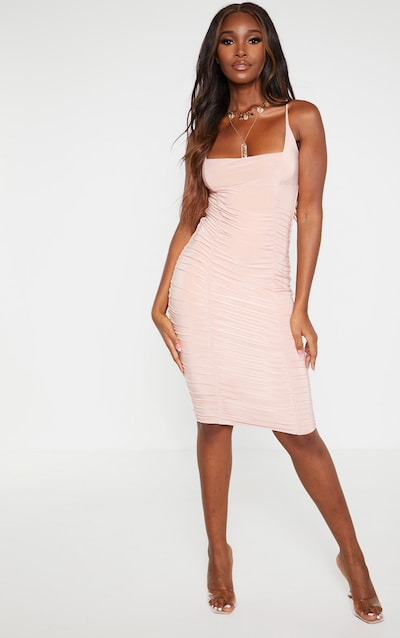 Stone Slinky Strappy Ruched Side Detail Midi Dress
