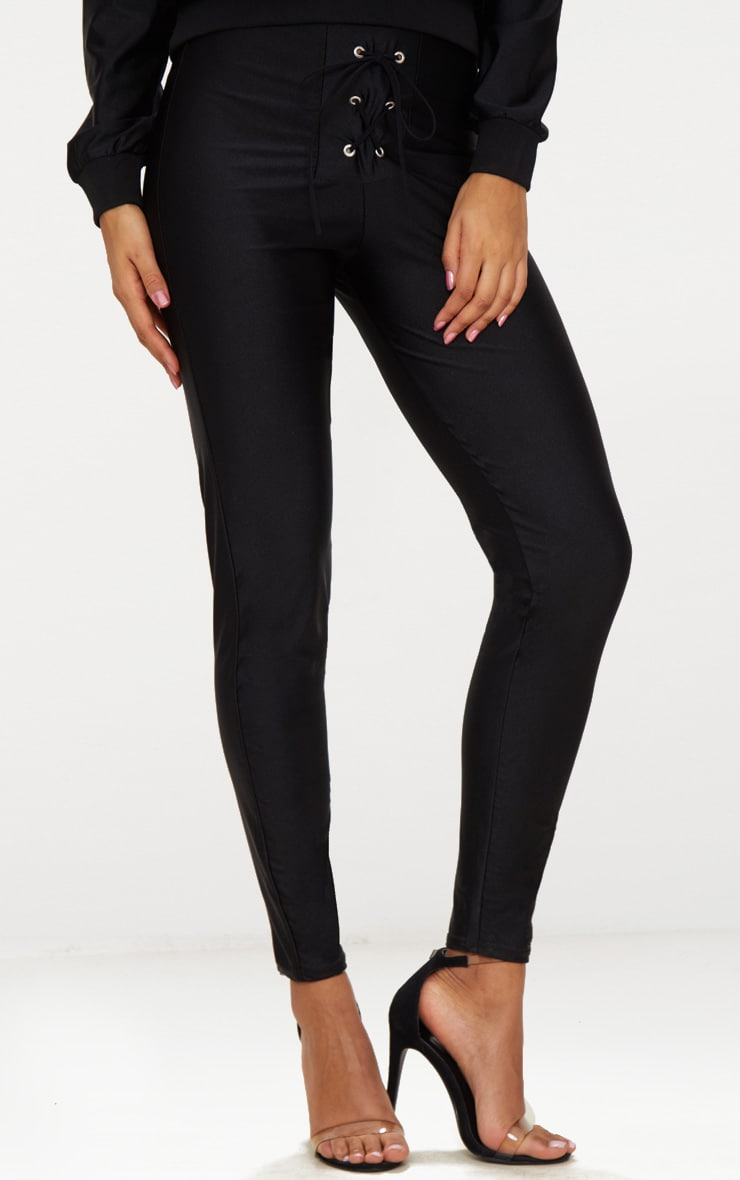 Black Lace Up Disco Pants 2