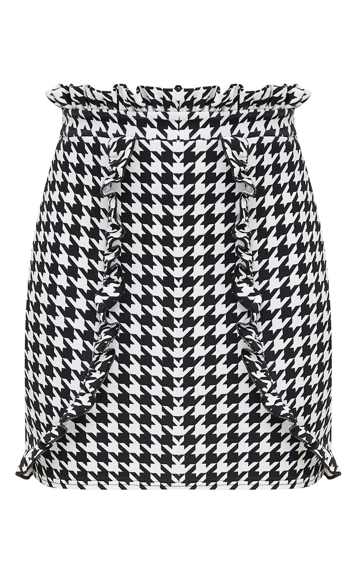 Black Dogtooth Paperbag Frill Mini Skirt 3
