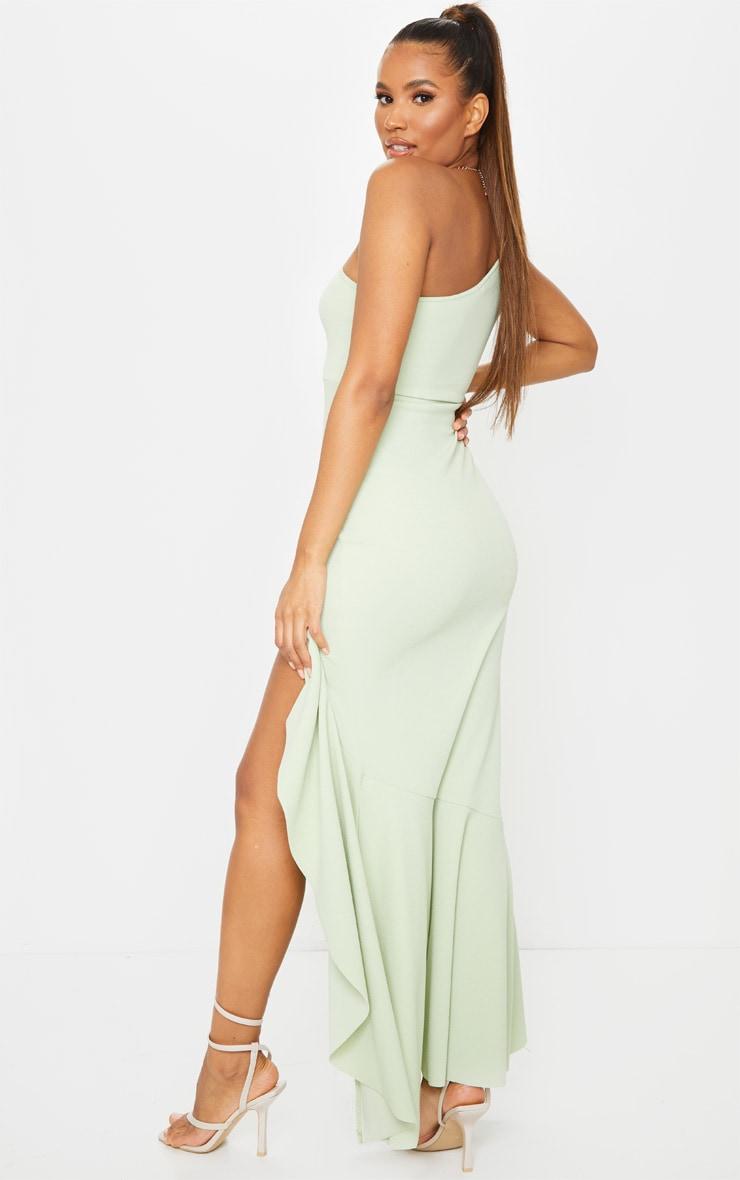 Sage Green One Shoulder Frill Split Maxi Dress 2