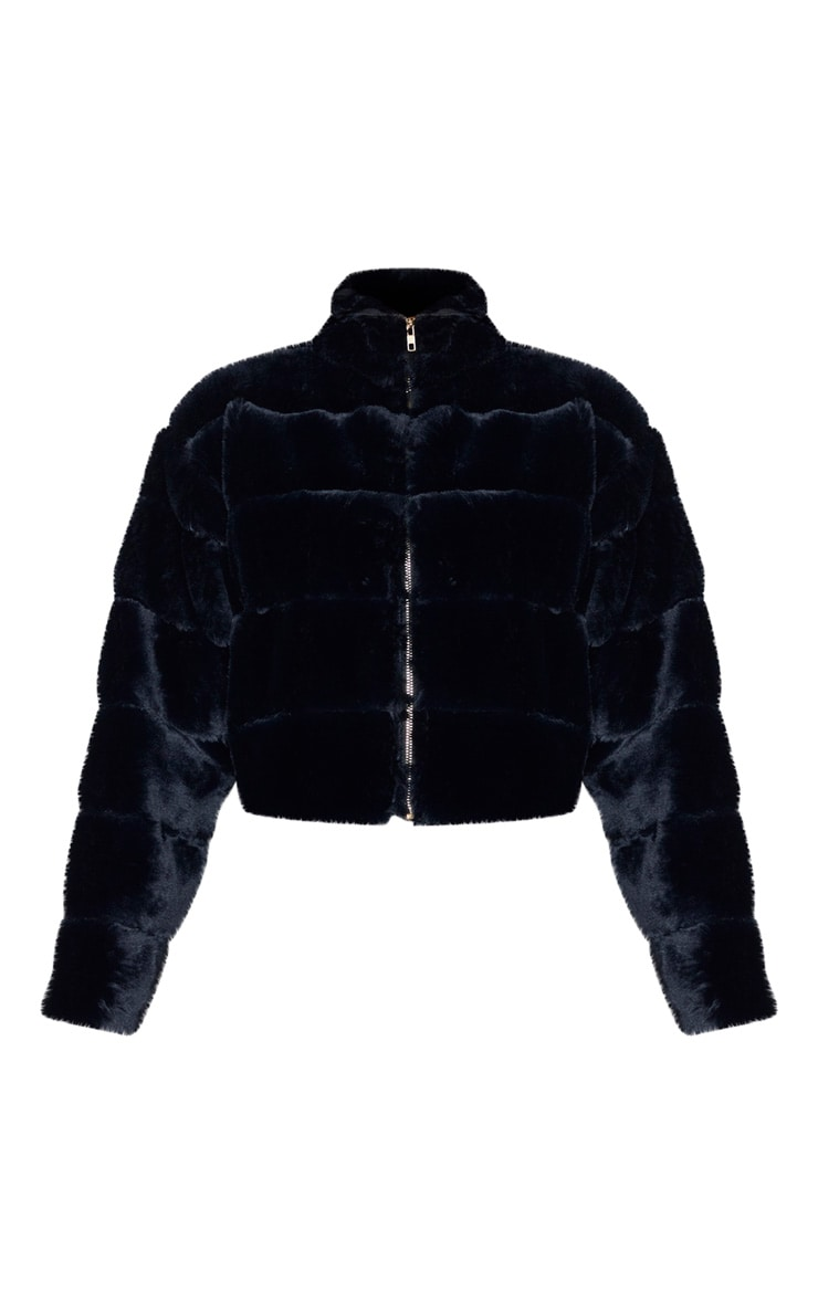 Tall Black Faux Fur Bomber Jacket 3