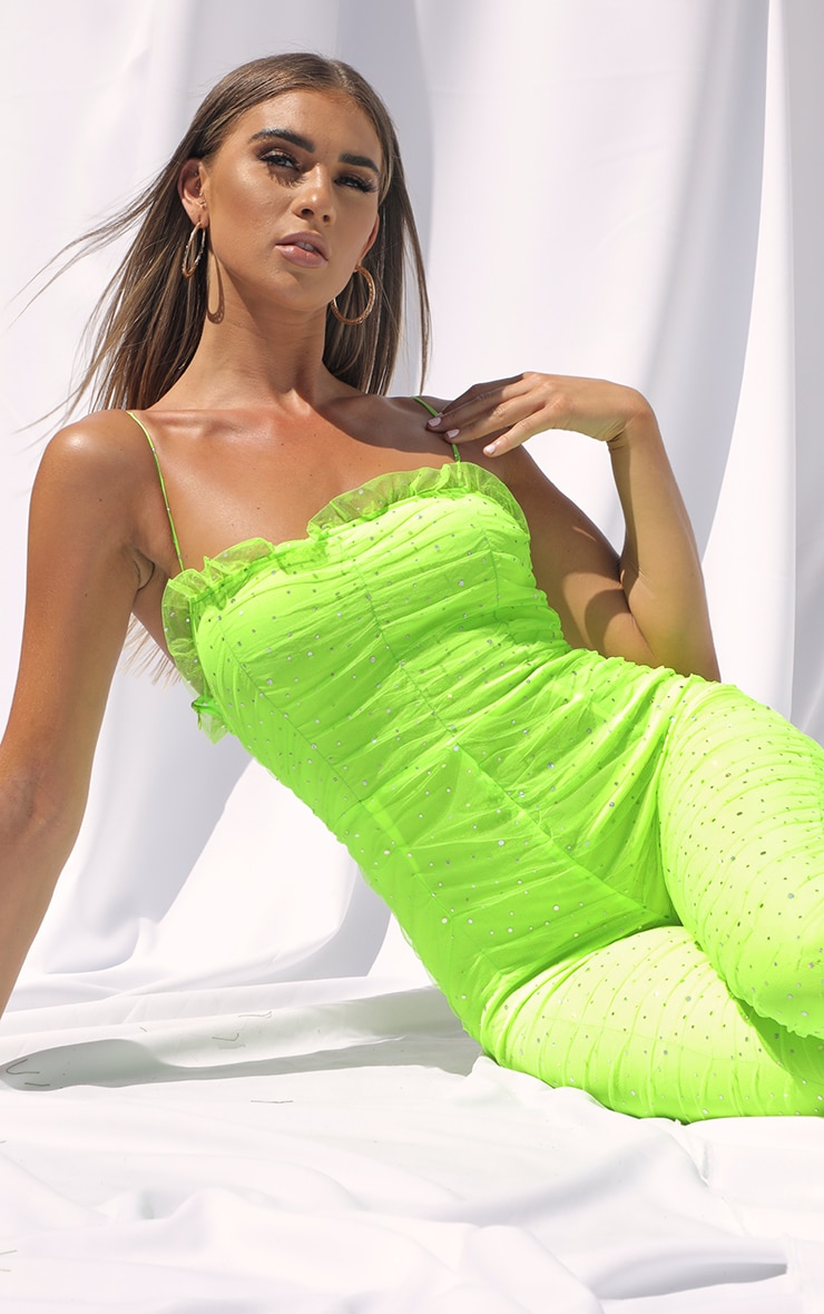 Neon Lime Polka Dot Ruched Mesh Jumpsuit 4