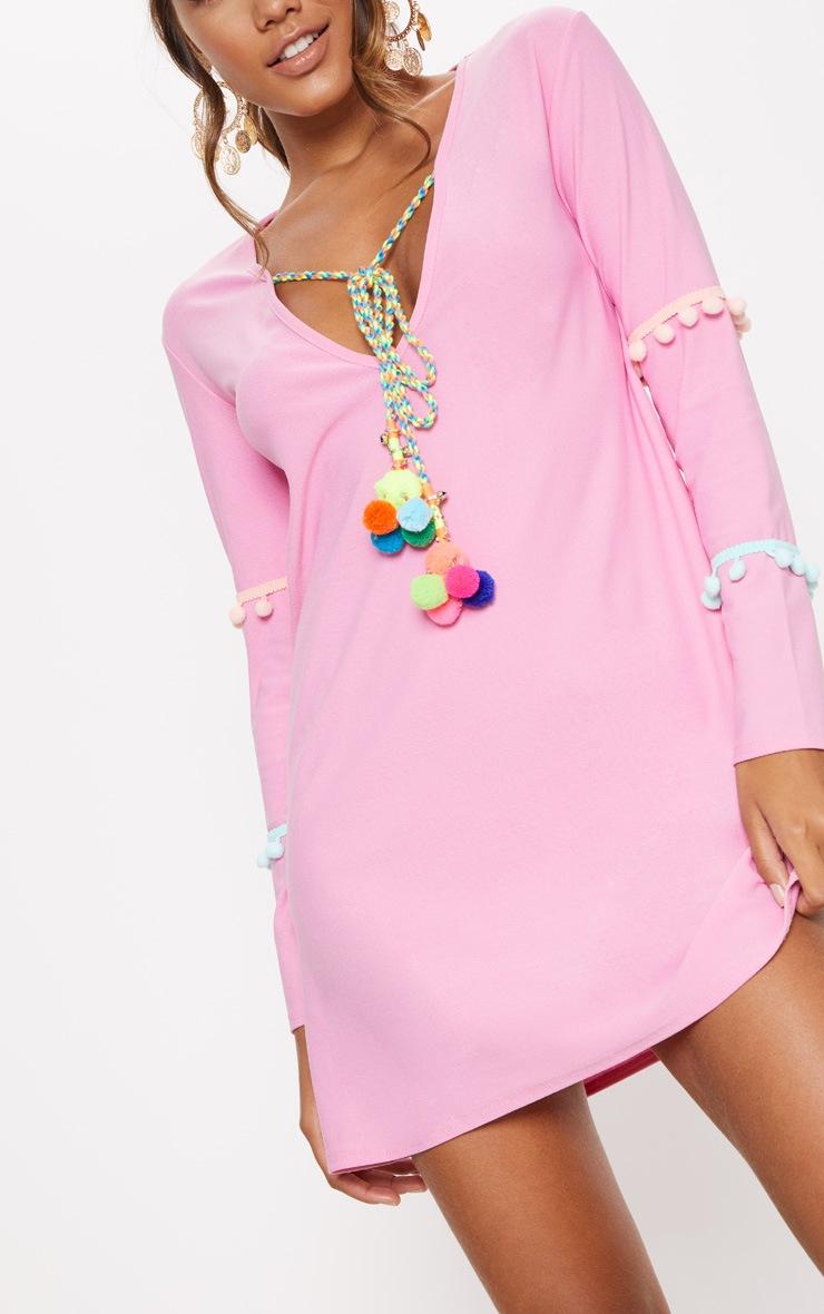 Pink Pom Pom Bell Trim Shift Dress 5