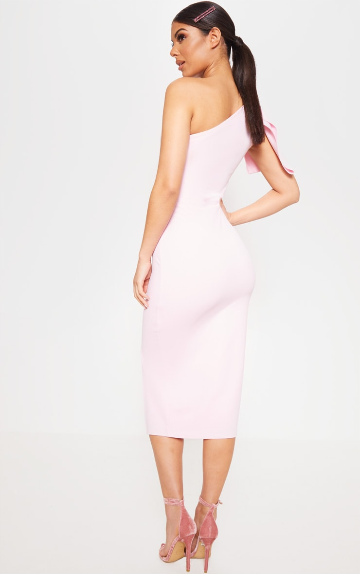 Baby Pink One Shoulder Bow Detail Midi Dress 2