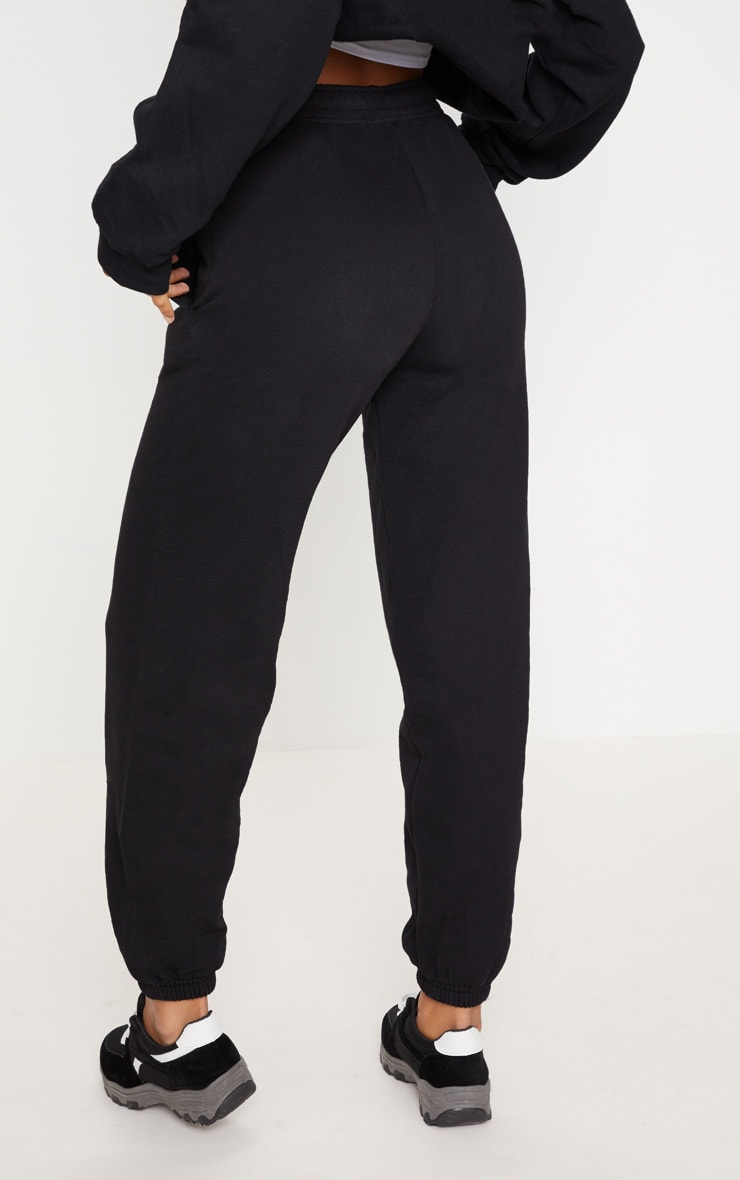 PRETTYLITTLETHING Black Embroidered Track Pants 3