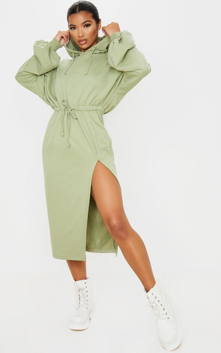 Sage Green Sweat Hoodie Split Midi Dress 1