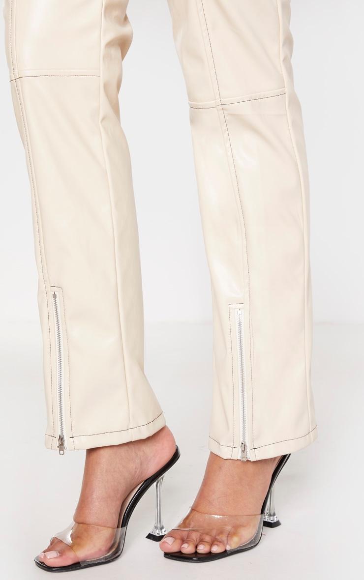 Cream Contrast Stitch PU Straight Leg Pants  5