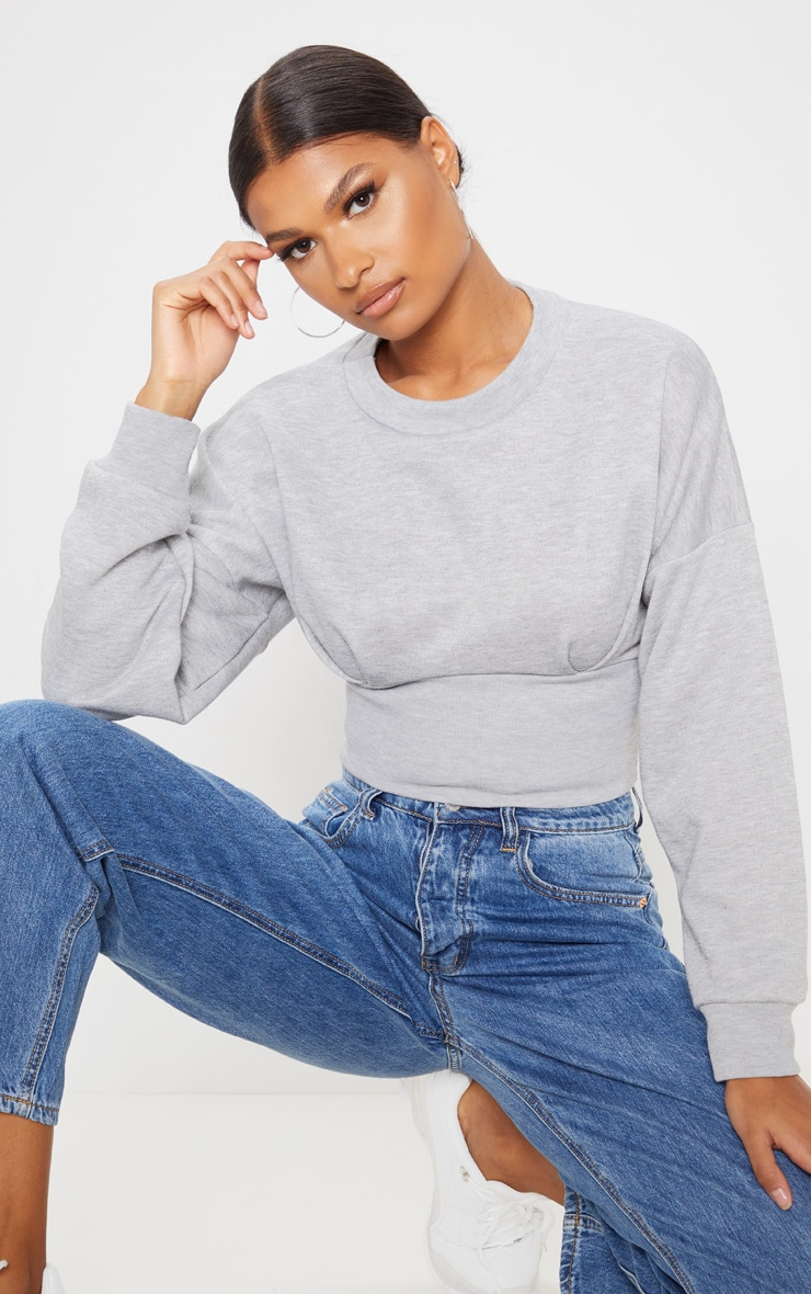 Grey Rib Extreme Hem Crop Sweater 1
