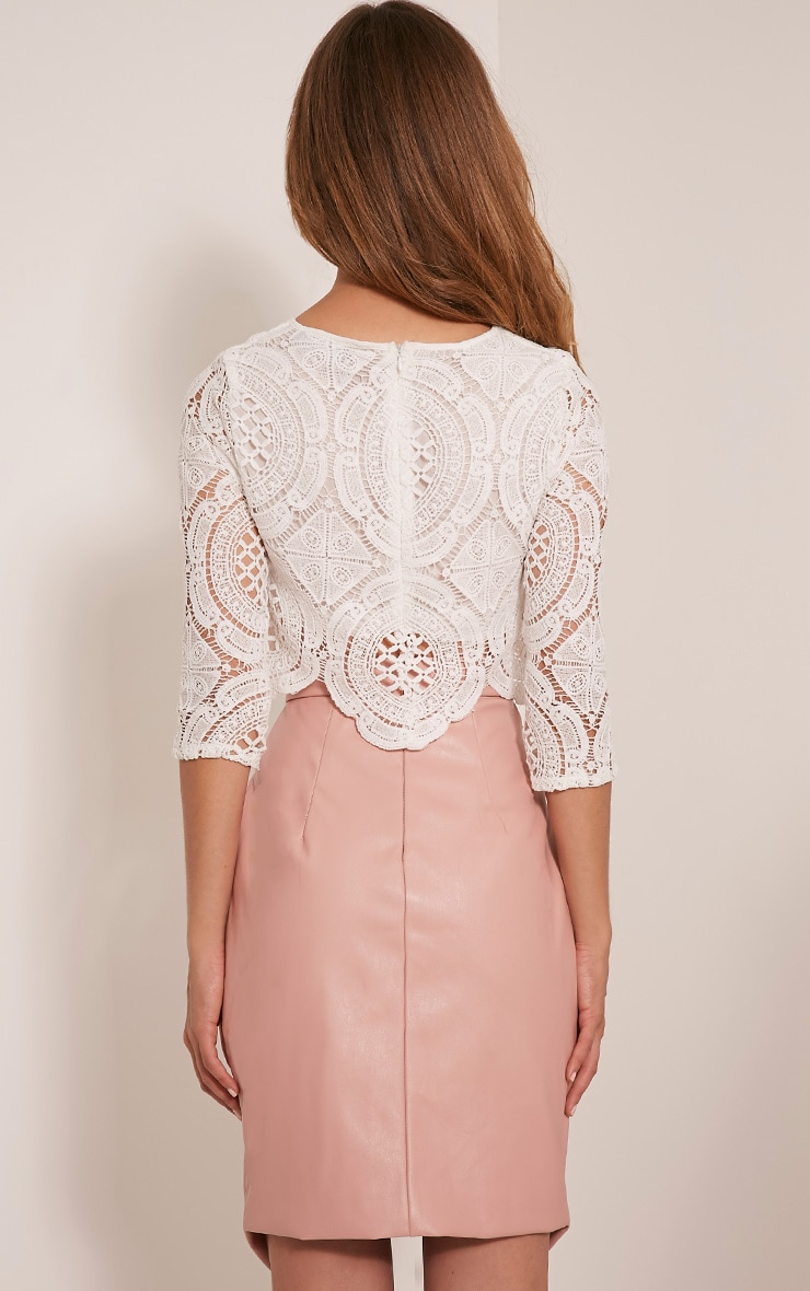 Anuskha White Embroidered Lace Long Sleeve Top 2