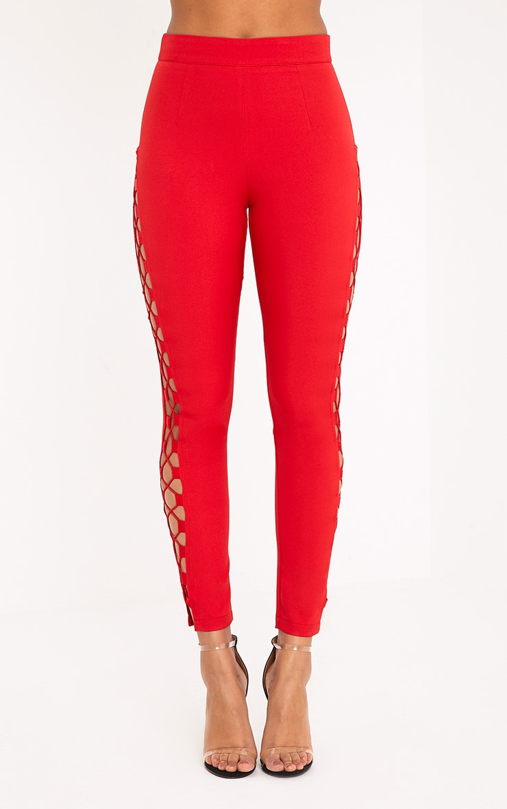 Anetta Red Lace Up Side Cigarette Trousers 2