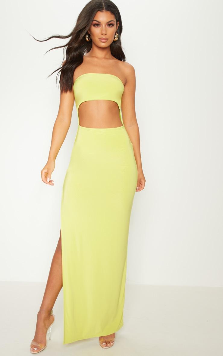 Lime Bandeau Cut Out Maxi Dress 1