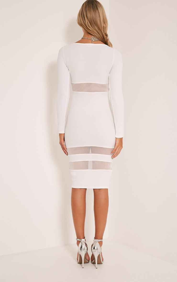 Kaycee White Long Sleeve Mesh Panel Midi Dress 2