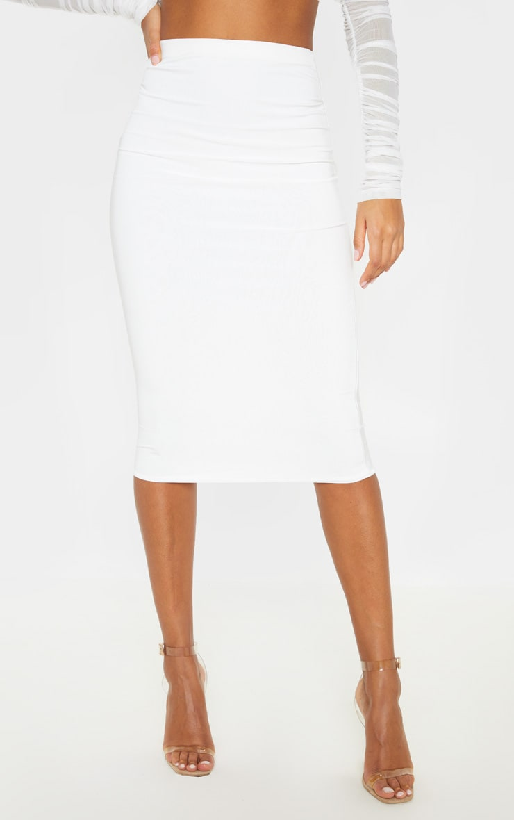 Aidy White Slinky Long Line Midi Skirt  2