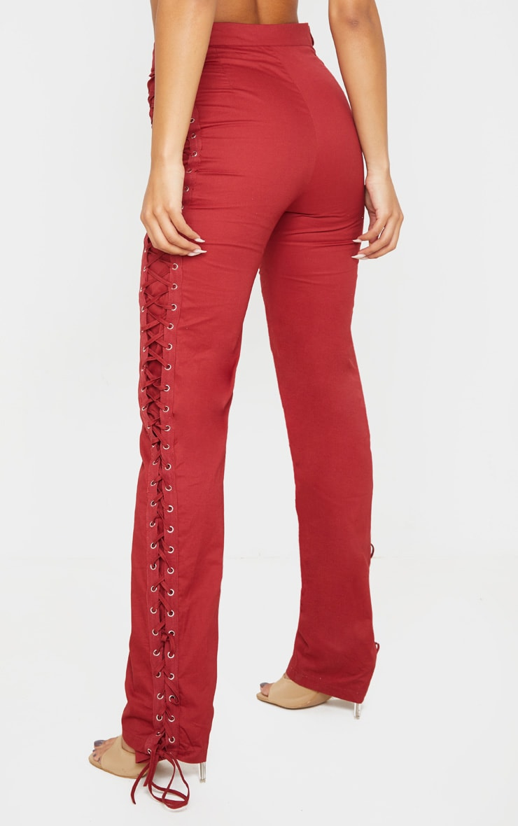 Burgundy Lace Woven Eyelet Lace Up Detail Straight Leg Trouser 4