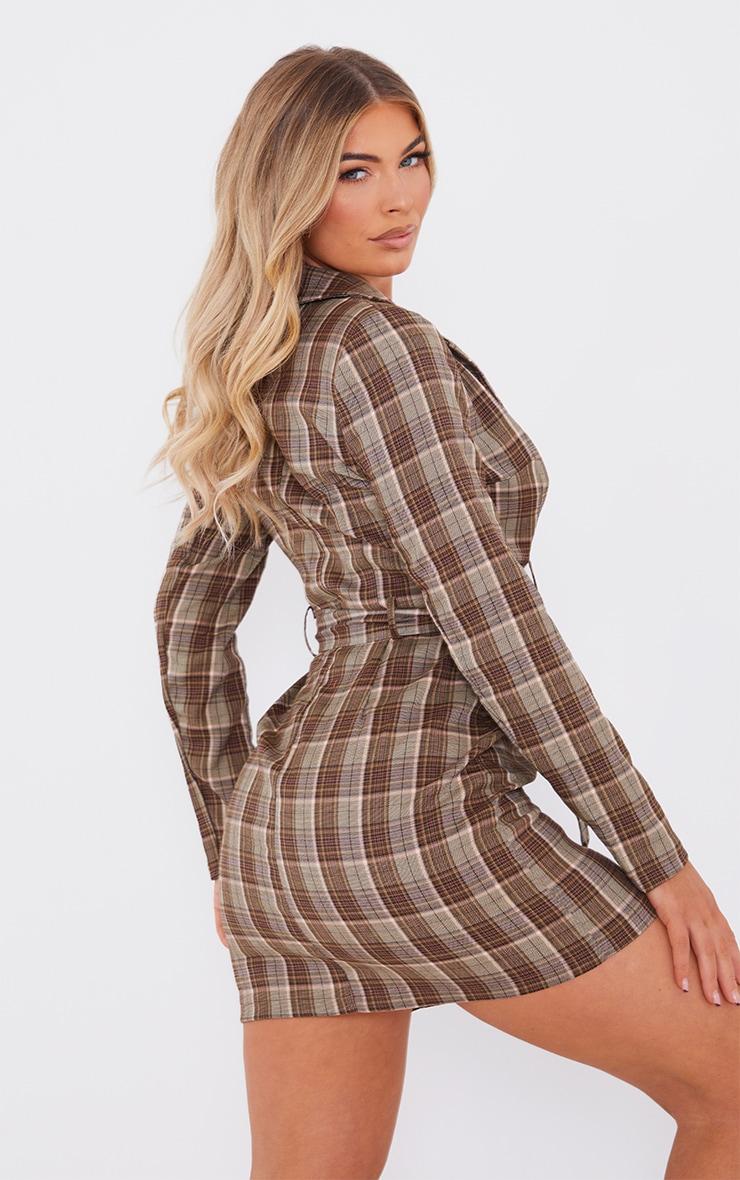 Beige Check Print Shoulder Pad Belted Shirt Dress 2