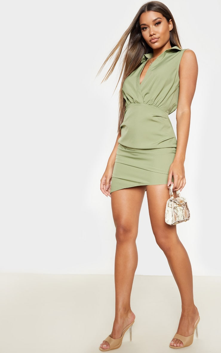 Olive Khaki Sleeveless Ruched Drape Shirt Dress 4