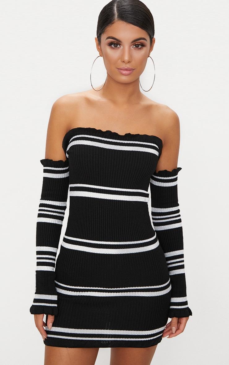 88626f5da286 Black Lurex Stripe Ruffle Bardot Knit Dress image 1