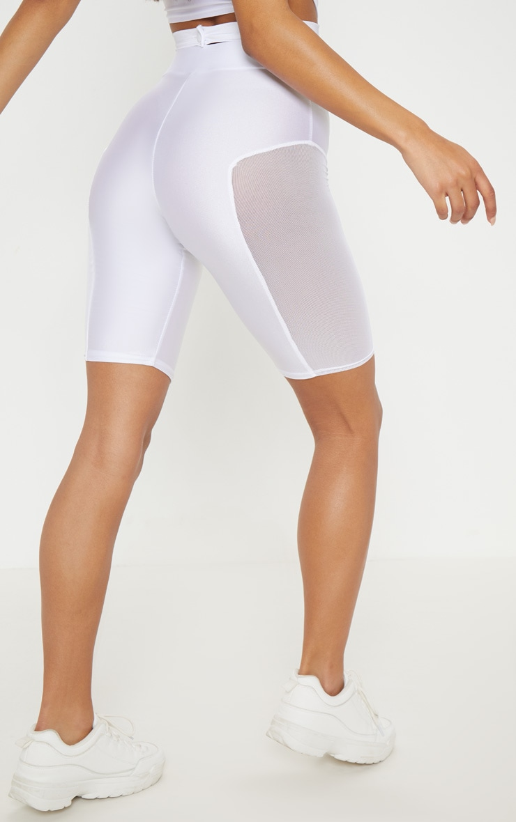 White Mesh Side Panel Cycling Shorts 4