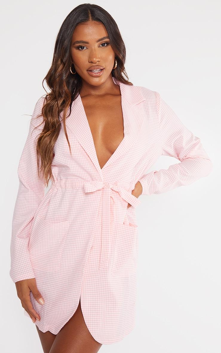 Pink Gingham Wrap Waist Detail Shift Dress 1