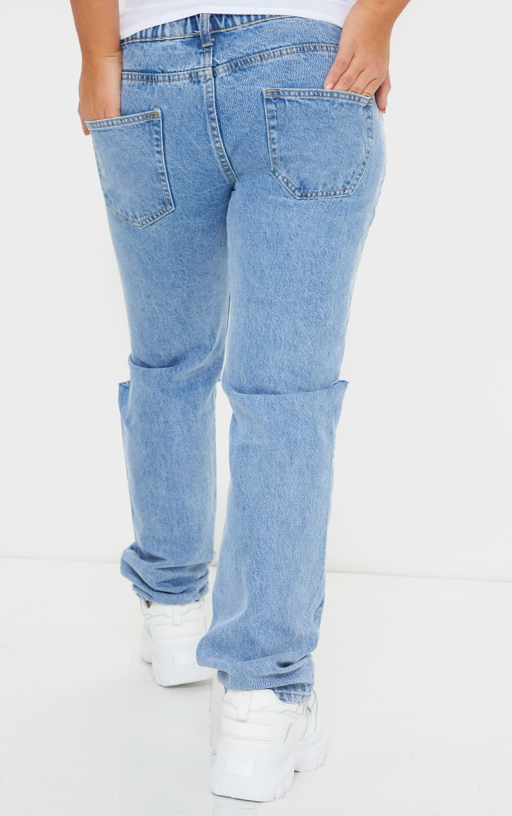 Maternity Mid Wash Knee Rip Straight Leg Jeans 3