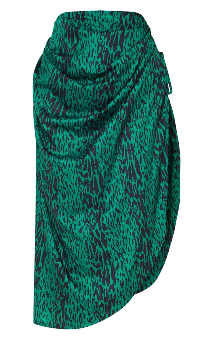 Green Leopard Print Ruched Tie Side Midi Skirt 5