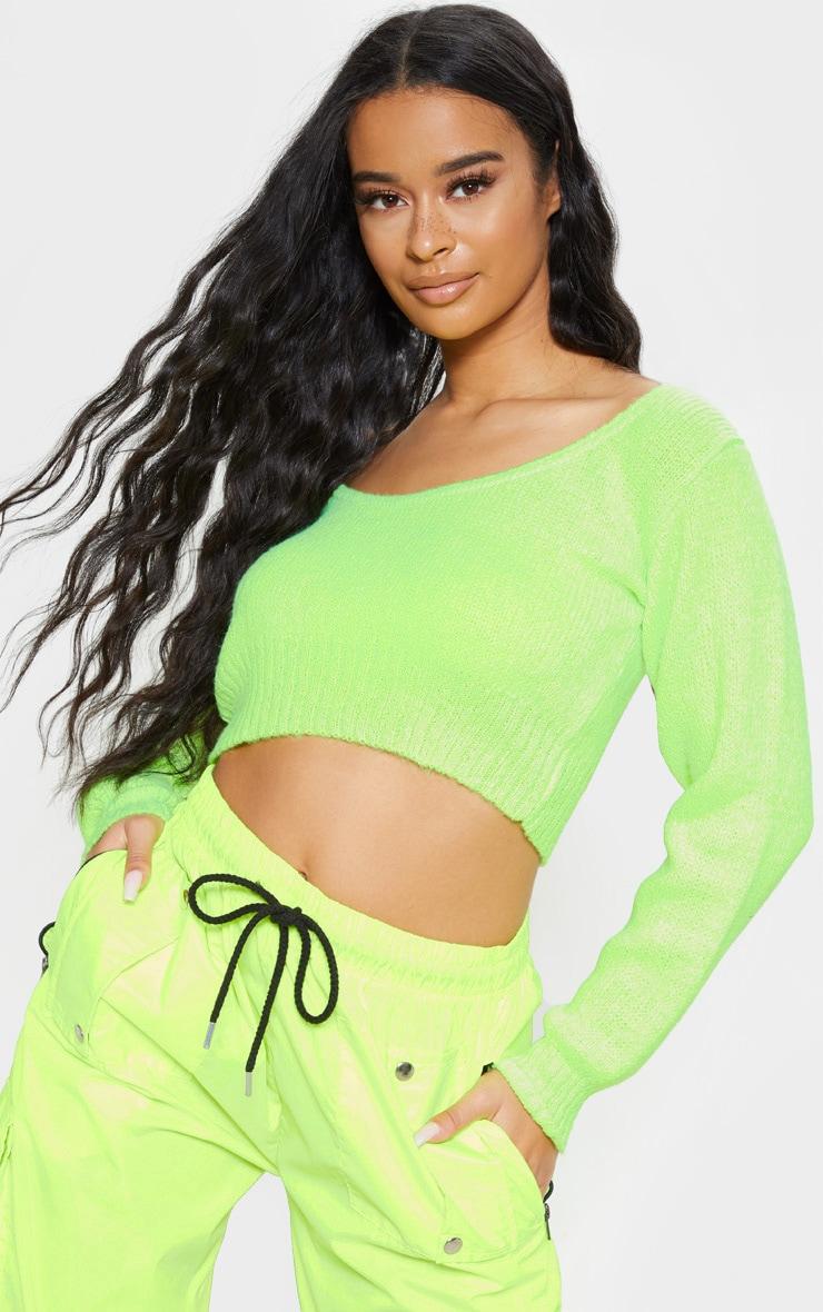 Lime V Neck Off The Shoulder Soft Knitted Crop Jumper  1