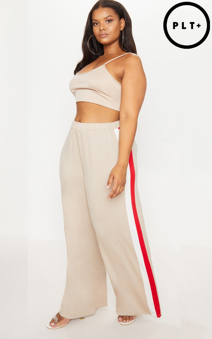 Plus Stone Jersey Wide Leg Trousers