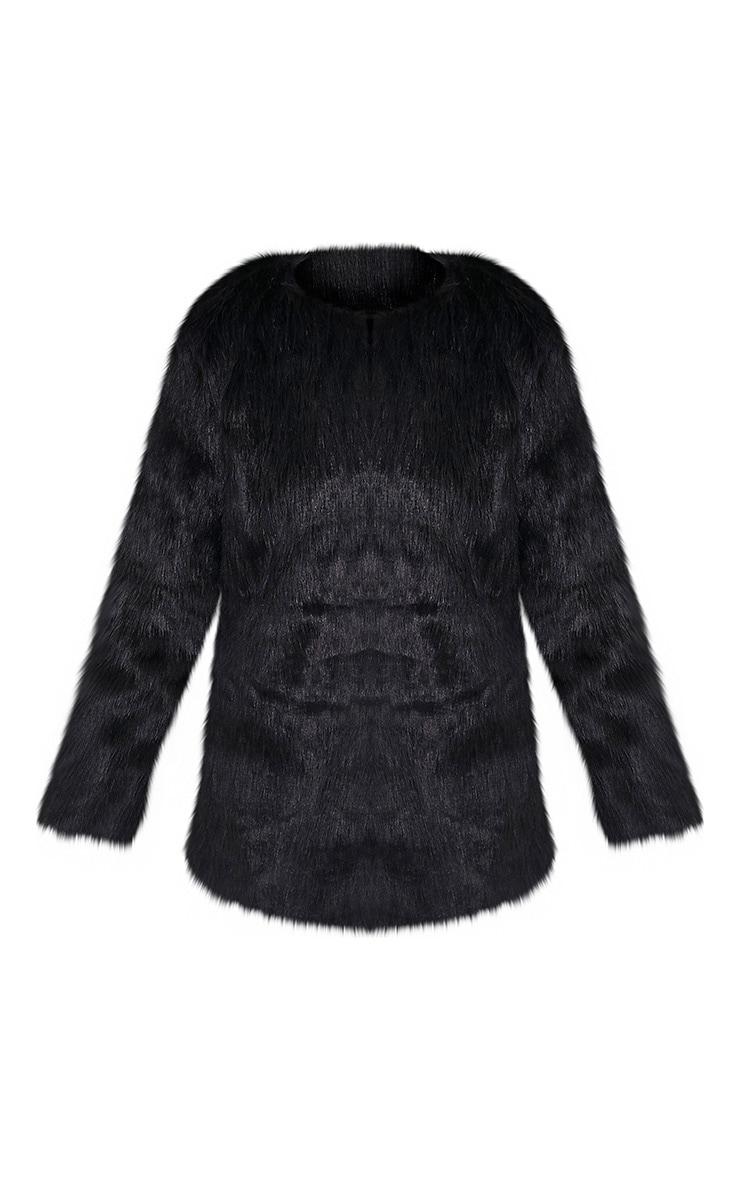 Florencia manteau en fausse fourrure noir 3