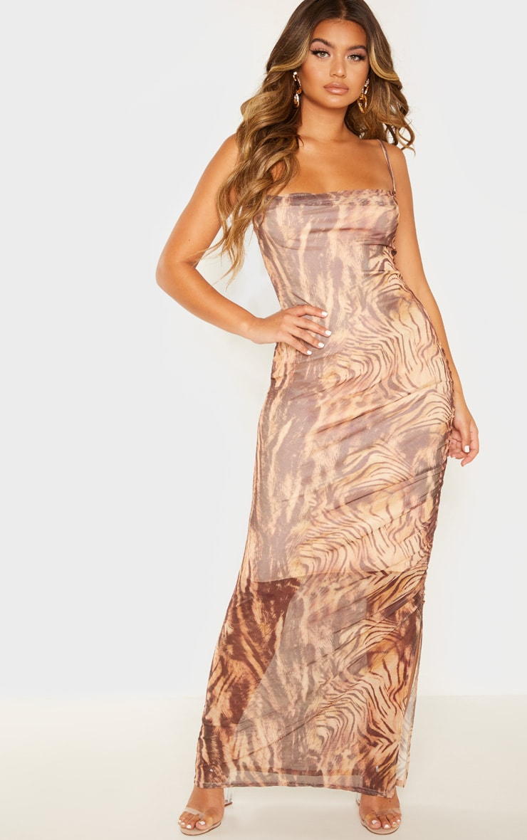 Brown Printed Mesh Ruched Maxi Dress 4