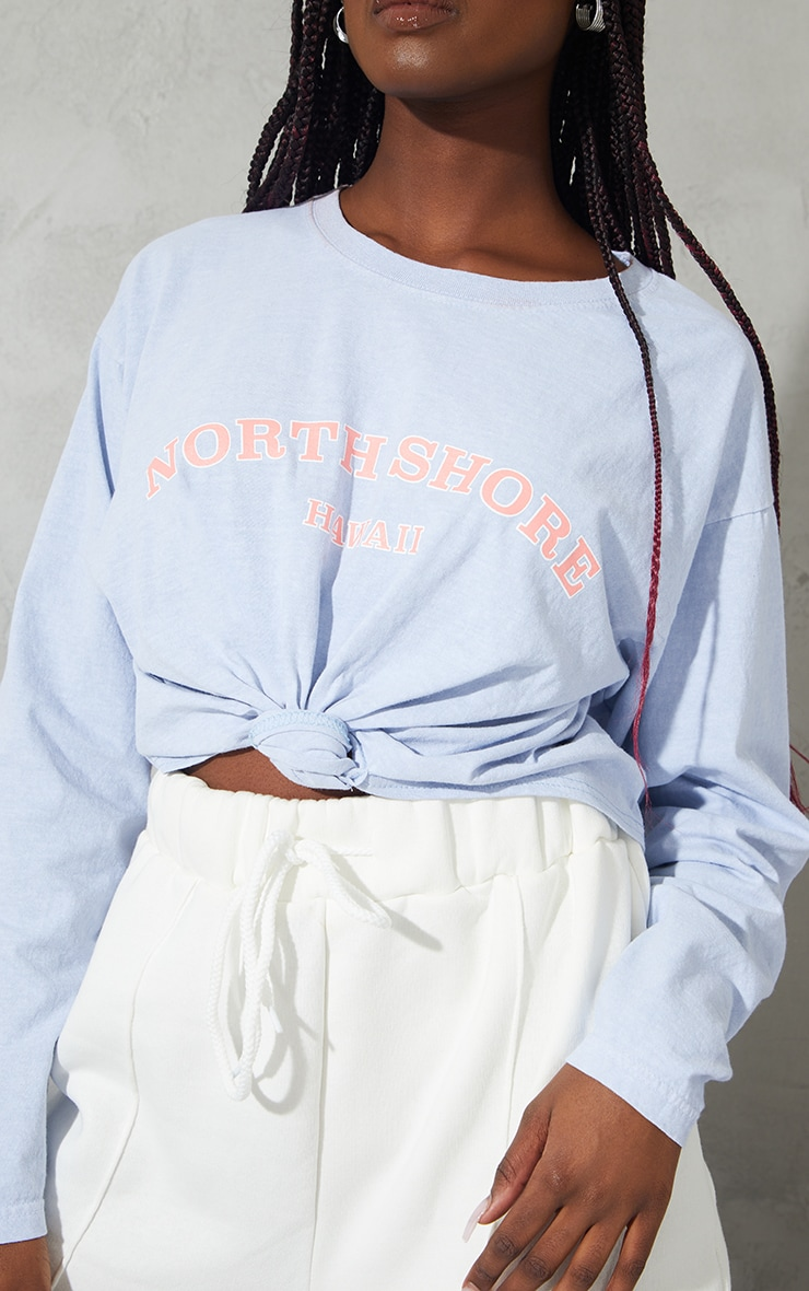 Blue North Shore Washed Knot Front Crop T Shirt 4