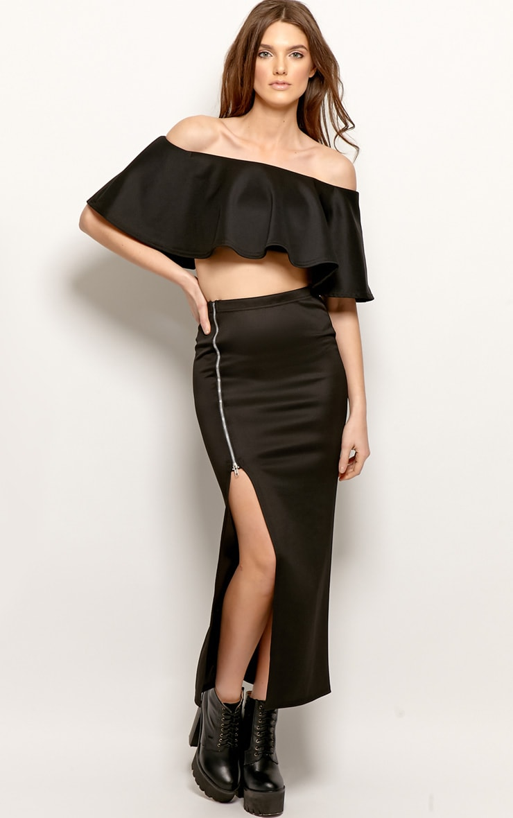 Allie Black Frill Crop Top 3