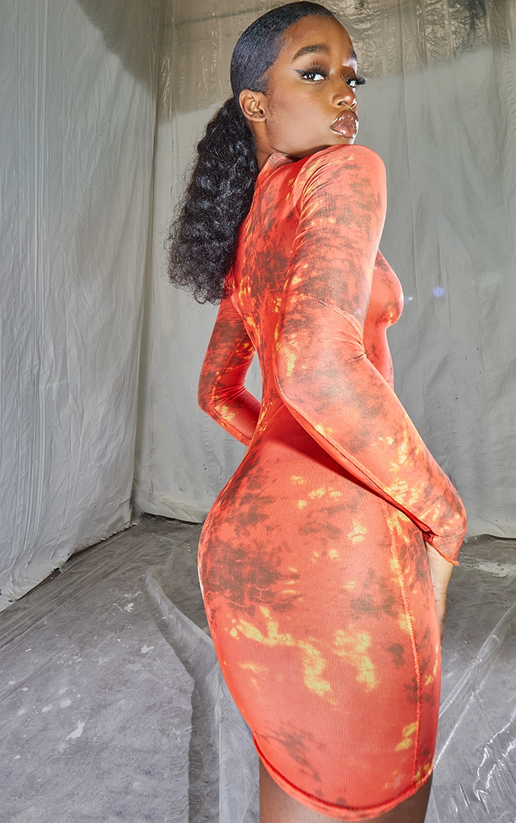 Red Tie Dye Ruched Centre High Neck Long Sleeve Bodycon Dress 2