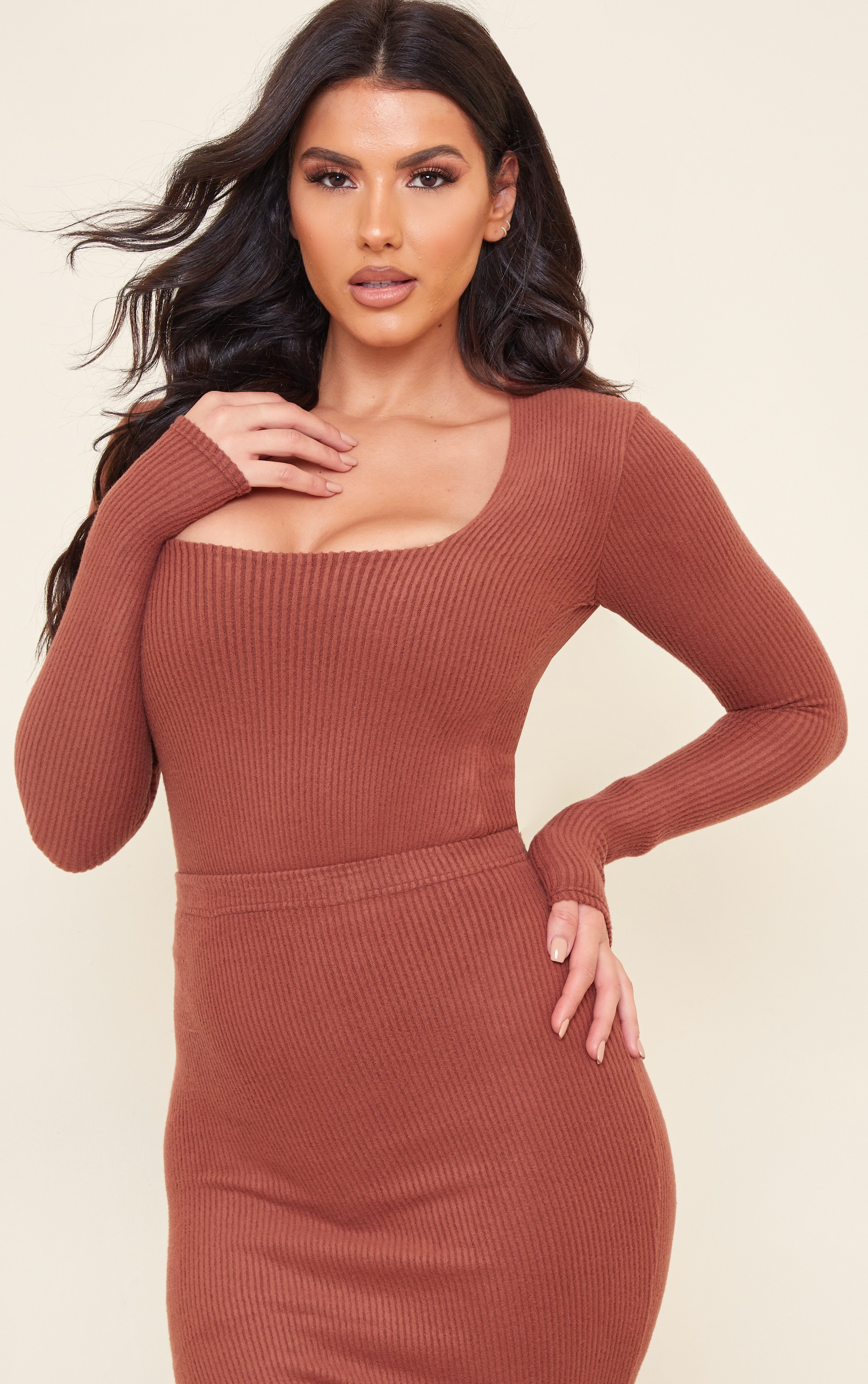Tall Chocolate Brushed Rib Long Sleeve Square Neck Bodysuit 1